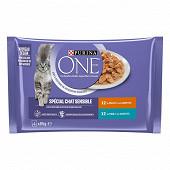 PURINA ONE Chat Sensible Sachets fraîcheur pour chats adultes au Thon et au Poulet - 4 x 85 g