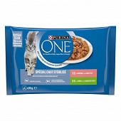 PURINA ONE Sachets fraîcheur pour chats adultes stérilisés au Saumon et à la Dinde - 4x85 g