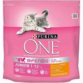 PURINA ONE Junior de 1 à 12 mois Croquettes pour chaton au Poulet et aux Céréales Complètes - 1,5 KG