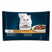 GOURMET PERLE Duo Sachets repas pour chat adulte A la Viande - 4 x 85 g
