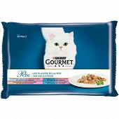 GOURMET PERLE sachets repas pour chats adultes - Au Carrelet, au Thon, au Saumon 4x85g