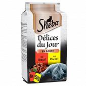 Sheba sachet fraicheur délices du jour aux viandes 6 x50g