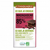 Ethiquable chocolat noir 85% de cacao de Madagascar bio 100g