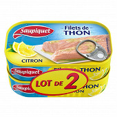 Saupiquet filets thon citron 1/6 115g lot x2 maxi gourmand