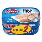 Saupiquet filets thon naturel 1/6 115g lot x2 maxi gourmand