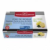 Les mouettes d'Arvor foie de morue au citron bio 120g