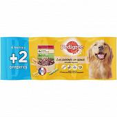 Pedigree pour chien les cuisinés en sauce aux petits légumes 3 var bf plt lap 6x1/2 + 2 offertes