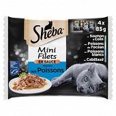 Sheba sachets fraîcheur pour chat mini filets en sauce saveurs océanes 4x85g