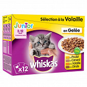Whiskas junior sachets fraicheur en gelée 4 variétés 12x100g
