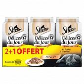 Sheba délice du jour sachets fraicheur en sauce à la volaille 6x50g 2+1 oft