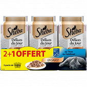 Sheba délices du jour sachets fraicheur en sauce aux poissons 6x50g 2 + 1 oft
