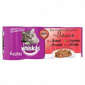 Whiskas boîtes pour chat en sauce la carte du boucher 4x400g