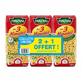 Panzani coquillettes cuisson rapide 2x500g + 1 paquet offert