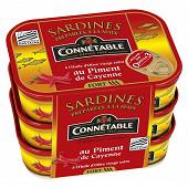 Connétable sardines à l'huile d'olive et au piment de Cayenne 135g lot 3x 1/5
