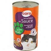 Cora bouchées en sauce pour chat foie volaille légumes 1250g