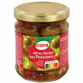 Cora olives vertes farcies à la pâte de poivron bocal 120g