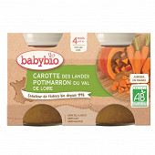 Babybio carotte potimarron sans gluten dès 4 mois 2x130g