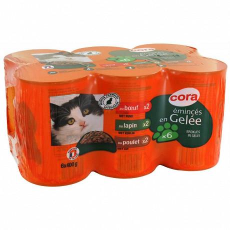 Cora emincés en gelée pour chat boeuf/poulet/lapin 6 x 400g