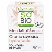 So bio etic crème soyeuse hydratante mon lait d'anesse bio 50ml