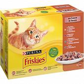 FRISKIES Sachets fraîcheur pour chat adulte aux Viandes et aux Poissons en Sauce - 12 x 85 g