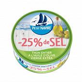 Petit navire thon entier huile d'olive vierge extra -25% de sel 160g