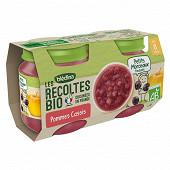 Bledina les récoltes bio compote avec morceaux pommes cassis dès 8 mois 2x130g