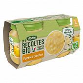 Blédina les récoltes bio pommes bananes dès 8 mois 2x130g