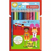 Stabilo - Pochette 15+3  crayons de couleur color