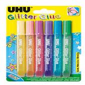 Uhu glitter glue 6x10 grammes shiny colle à paillettes
