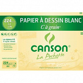 Canson - Pochette c à grain 12 feuilles a4 224 grammes blanc