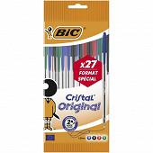 Bic stylos bille cristal 27 offerts coloris assortis