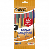 Bic 20+7 stylos bille bic cristal fine coloris assortis