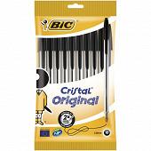 Bic 10 stylos bille cristal bic noirs pointe moyenne