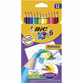 Bic 12 crayons de couleur aquacouleur mine aquarelle