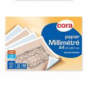 Cora pochette dessin papier millimètre bistre/bleu 21 x 29.7 cm 12 feuilles