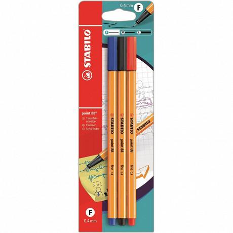 Stabilo 3 stylos feutres stabilo point 88 noir+bleu+rouge