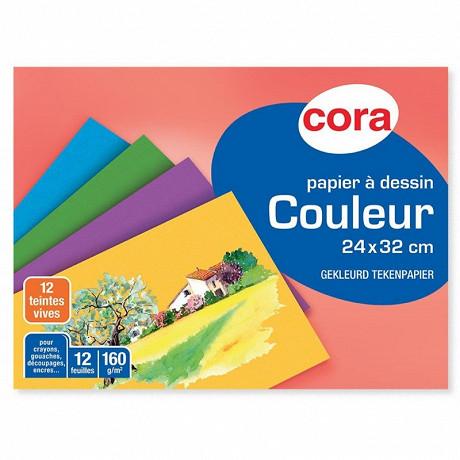 Cora pochette dessin papier à grain couleurs vives 24 x 32 cm 12 feuilles