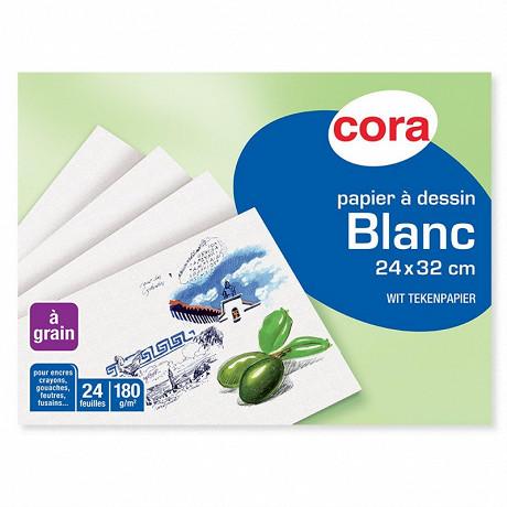 Cora pochette dessin papier à grain blanc 24 x 32 cm 24 feuilles