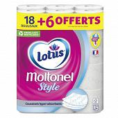 Moltonel papier toilette style hyper absorbants aquatube 18+6 gratuuits