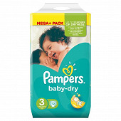 Pampers Baby dry couches bébé T3 mega + pack x112