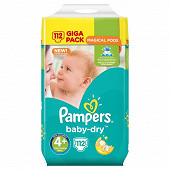 Pampers couches bebe Baby Dry T4+ X 112 giga