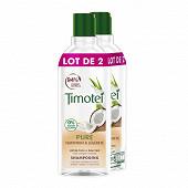 Timotei shampooing pure nutrition & légèreté cheveux normaux lait de coco et aloé vera 2x300ml