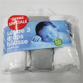 Babycalin lot de 3 draps housse 60x120 cm (2 blanc + 1 gris)