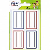Avery 24  étiquettes scolaires bleues et rouges - 36x56 mm