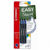 Stabilo  3 recharges stabilo easyoriginal 0.5 mm  encre bleue
