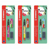 Stabilo stylo plume beCrazy + 2 cartouches - décors assortis