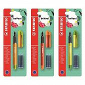 Stabilo stylo plume  becrazy + 2 cartouches duo colors décors assortis