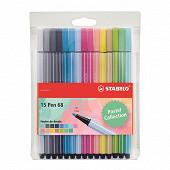 Stabilo pochette de 15 feutres pen 68 pastel pointe moyenne