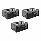 Lot 3 casiers pliants 32L noir/gris