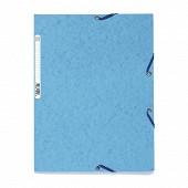 Exacompta chemise à élastiques 3 rabats carte lustrée bleu turquoise